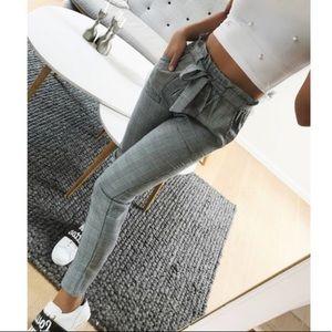 Pants - NWOT gray paper bag pants